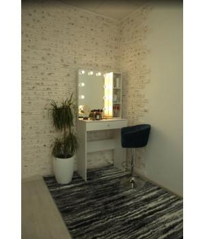 Гримерный столик 80х80 с безрамным зеркалом 80х60 и стеллажем